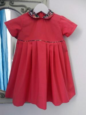 Raspberry pink cotton dress with floral piping and Peter Pan collar - 4 years old