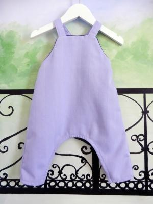 Light blue baby overalls in stripes effect fabric - 12 months