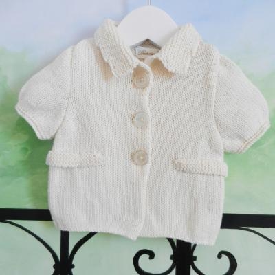 Veste en tricot à manches courtes en coton écru - 12 mois