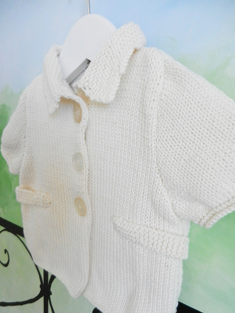 Duchesse or ange 229 b gilet manches courtes creme bebe 1 an