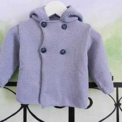 Veste à capuche en lainage bleu ciel - 12 mois