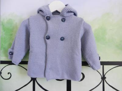 Light blue wool hooded jacket - 12 months old