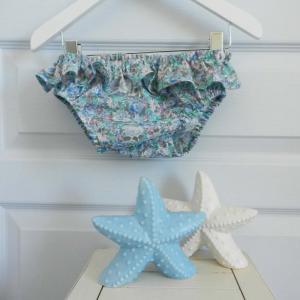 Duchesse or ange 237 a maillot de bain bebe enfant fille fillette fleurs bleues frou frou volant