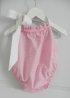 Pink gingham baby bathing suit with white ribbon - 12 months old
