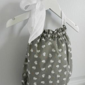 Duchesse or ange 242 b maillot de bain bebe enfant fille fillette gris lapin noeud blanc