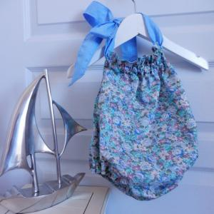 Duchesse or ange 243 a maillot de bain bebe enfant fille fillette bleu vert fleurs coton noeud blanc