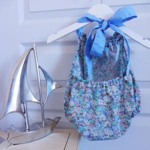 Duchesse or ange 243 c maillot de bain bebe enfant fille fillette bleu vert fleurs coton noeud blanc