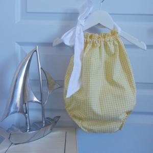 Duchesse or ange 244 a maillot de bain bebe enfant fille fillette vichy jaune coton noeud blanc