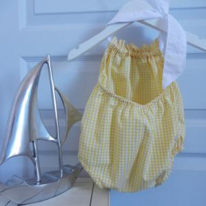 Duchesse or ange 244 c maillot de bain bebe enfant fille fillette vichy jaune coton noeud blanc