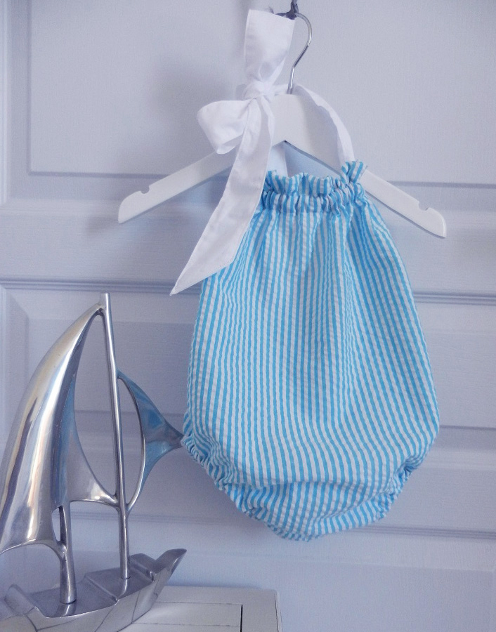 Duchesse or ange 245 a maillot de bain bebe enfant fille fillette rayures bleues blanches coton noeud blanc
