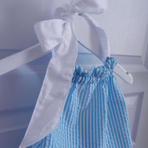 Duchesse or ange 245 b maillot de bain bebe enfant fille fillette rayures bleues blanches coton noeud blanc