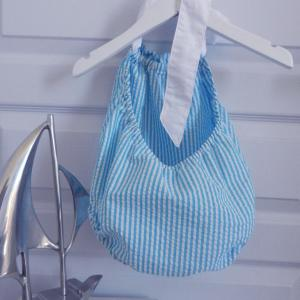 Duchesse or ange 245 c maillot de bain bebe enfant fille fillette rayures bleues blanches coton noeud blanc