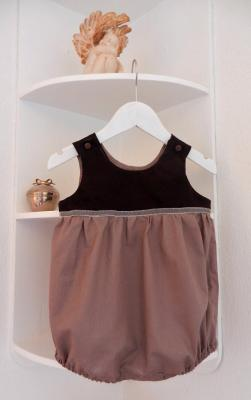 Dark brown and chestnut cotton baby rompers - 12 months old