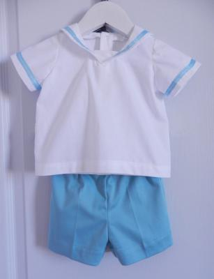 White sailor shirt and sky blue shorts set - 12 months