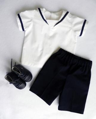 White sailor shirt and bermuda shorts set