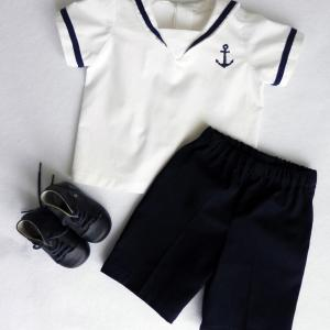 Duchesse or ange 250 a ensemble bebe mariniere short bleu marine baby top and navy blue shorts
