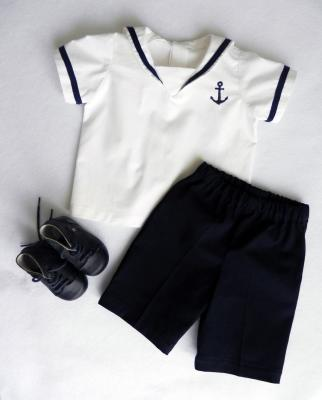 White sailor shirt with embroidery and bermuda shorts set