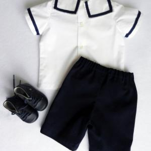 Duchesse or ange 250 b ensemble bebe mariniere short bleu marine baby top and navy blue shorts