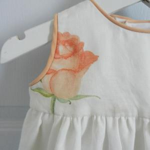 Duchesse or ange 251 b robe bebe voile de lin roses blanche orange baby dress linen white orange roses