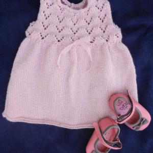 Duchesse or ange 252 a robe bebe tricot rose baby knitt dress pink