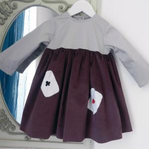 Duchesse or ange 253 a robe bebe velours grenat satin de coton gris cartes baby dress velvet purple grey