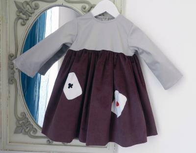 Plum velvet long sleeves dress with grey satin cotton yoke - 2 year old
