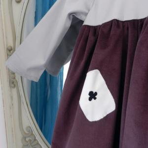 Duchesse or ange 253 c robe bebe velours grenat satin de coton gris cartes baby dress velvet purple grey