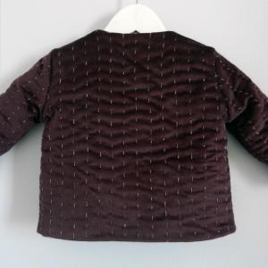 Duchesse or ange 254 b veste bebe velours grenat satin de coton gris molleton baby padded jacket velvet purple grey