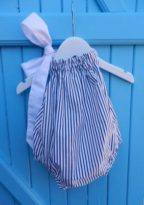 Navy and white stripes baby bathing suit with white ribbon