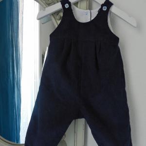 Duchesse or ange 264 salopette velours bleu marine bebe dark blue navy baby overalls velvet a