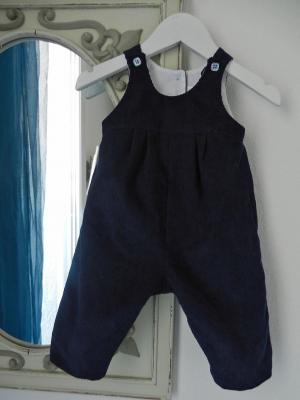 Dark blue velvet cotton overalls