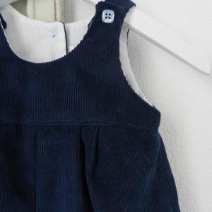 Duchesse or ange 264 salopette velours bleu marine bebe dark blue navy baby overalls velvet b