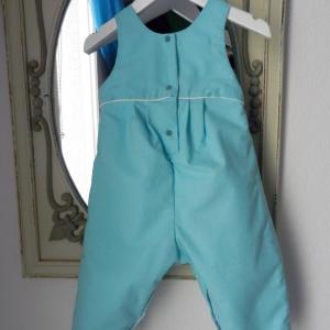 Duchesse or ange 266 salopette bleu turquoise passepoil blanc bebe turquoise blue baby overalls d