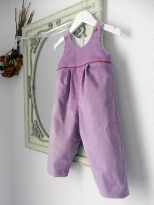 Pink violet velvet cotton overalls with raspberry pink pipping.