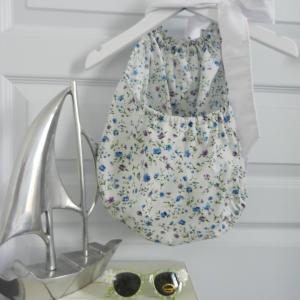 Duchesse or ange 269 maillot de bain fleurs bleues blue flowers bathing suit c