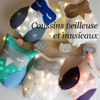 Duchesse or ange coussins veilleuse et musicaux