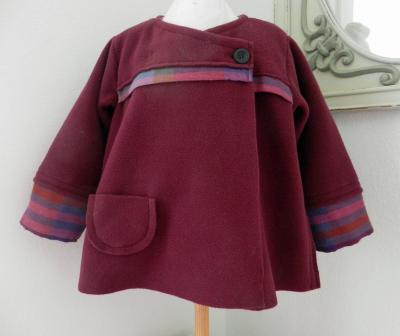 Manteau droit en polaire bordeaux - 2 ans