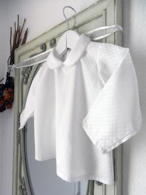 White shirt in checkered effect fabric with peter pan collar