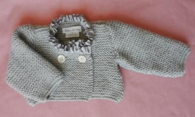 Grey knitted cardigan with grey satin neckline - 6/9 months old