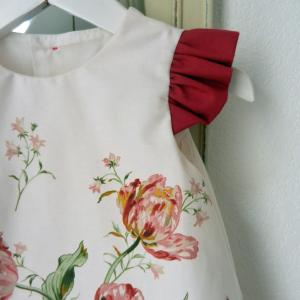 Duchesse or ange doa 275 robe trapeze fleurs fronces rose fushia flower dress gathered sleeves c