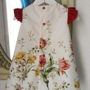 Duchesse or ange doa 275 robe trapeze fleurs fronces rose fushia flower dress gathered sleeves d