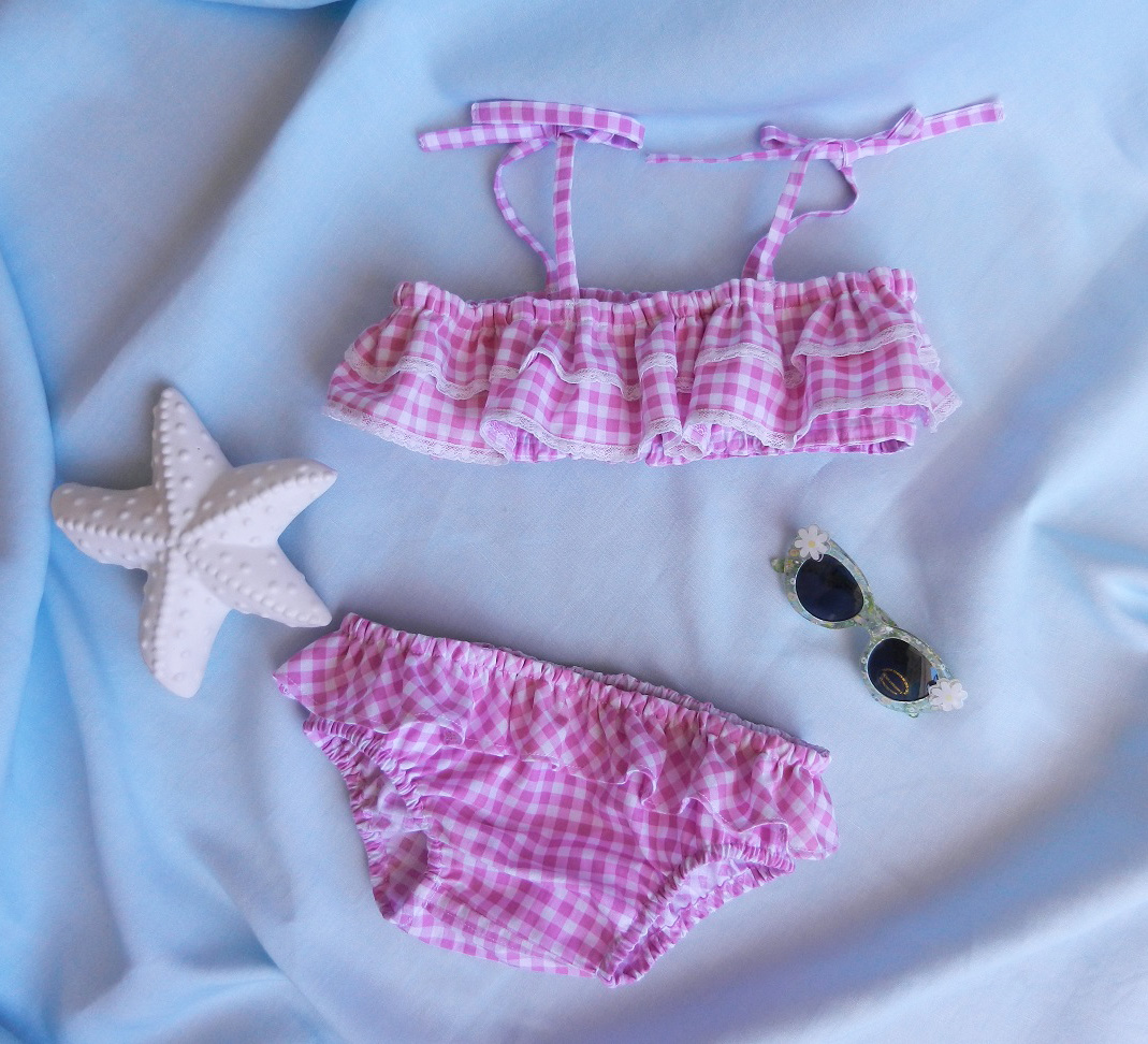Duchesse or ange doa 276 maillot de bain fille vichy rose pink gingham girl swimming suit a
