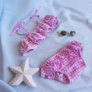 Duchesse or ange doa 276 maillot de bain fille vichy rose pink gingham girl swimming suit b