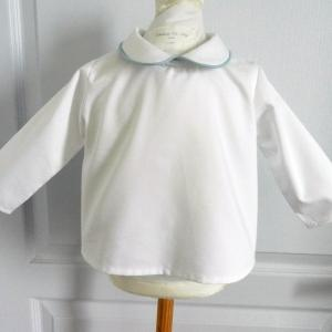 Duchesse or ange doa 279 chemise bebe col claudine passepoil bleu baby shirt peter pan collar blue piping a