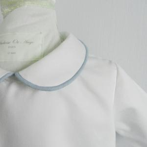 Duchesse or ange doa 279 chemise bebe col claudine passepoil bleu baby shirt peter pan collar blue piping b