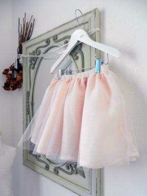 Powder pink linen and tulle skirt