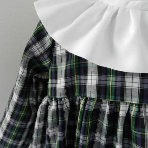 Duchesse or ange doa 282 robe bebe tartan vert noir col fronce blanc baby dress green black tartan white frilled collar b