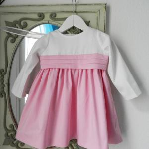 Duchesse or ange doa 283 robe bebe enfant rose blanche ceinture baby child dress pink white sash a