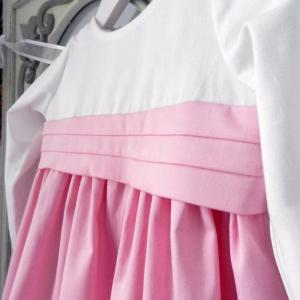 Duchesse or ange doa 283 robe bebe enfant rose blanche ceinture baby child dress pink white sash c