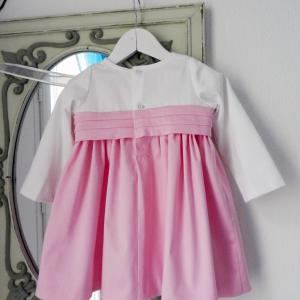Duchesse or ange doa 283 robe bebe enfant rose blanche ceinture baby child dress pink white sash d